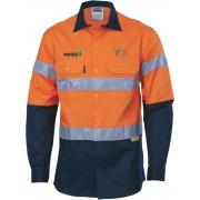 Day/Night Cool Cotton Shirt (Navy/Orange) with 2 logos