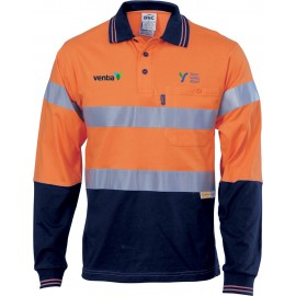 Day/Night Anti-static Long Sleeve Polo Top (Navy/Orange) with 2 logos