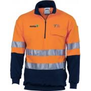Day/Night Half Zip Cotton Fleecy Windcheater (Navy/Orange) with 2 logos