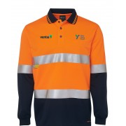 Day/Night Polyester Long Sleeve Polo Top (Navy/Orange) with 2 logos