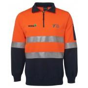 Day/Night Half Zip Poly/Cotton Fleecy Windcheater (Navy/Orange) with 2 logos
