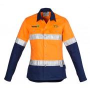 Womens Hi Vis Spliced Industrial Shirt (Orange/Navy) with 2 logos