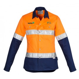 Womens Hi Vis Spliced Industrial Shirt (Orange/Navy) with 2 logos